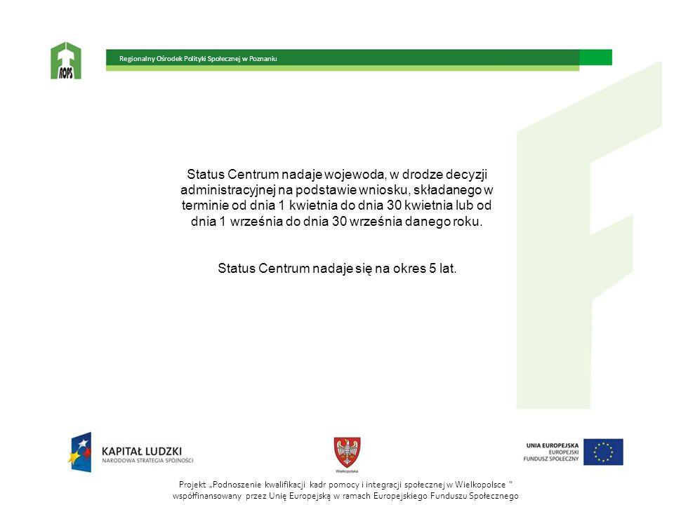 Status Centrum nadaje się na okres 5 lat.