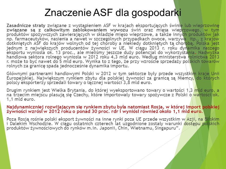 Znaczenie ASF dla gospodarki