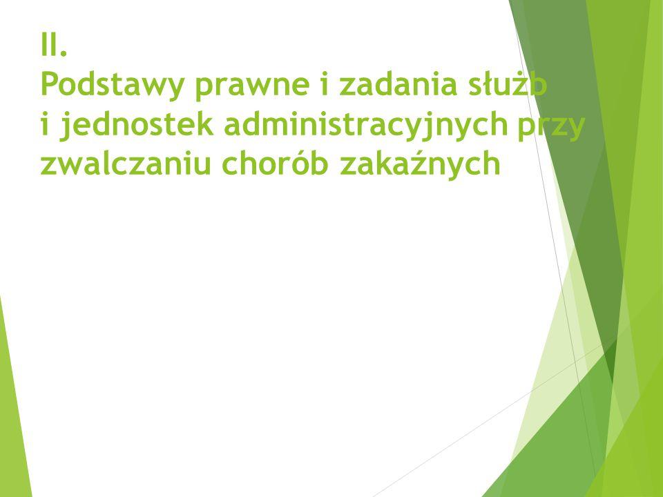 II. Podstawy prawne i zadania służb i jednostek administracyjnych przy zwalczaniu chorób zakaźnych