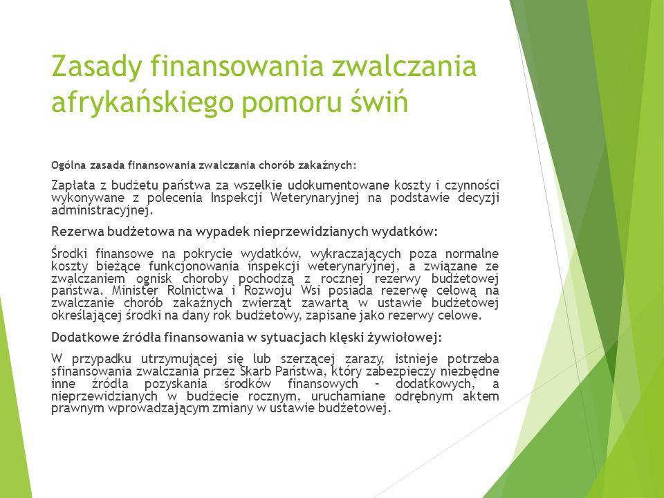 Zasady finansowania zwalczania afrykańskiego pomoru świń