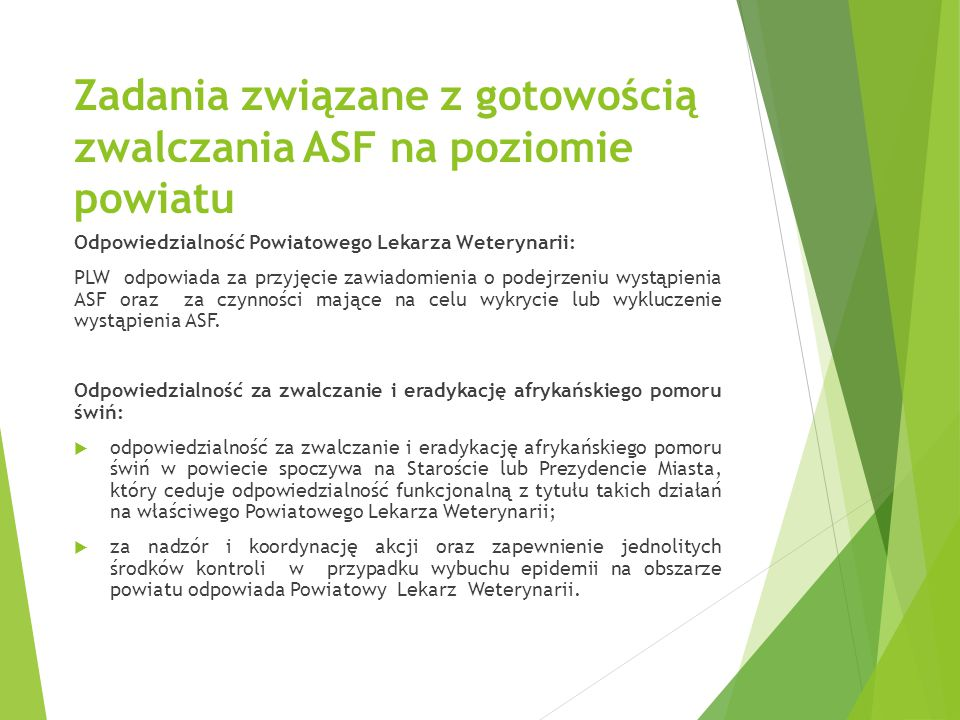 Zadania związane z gotowością zwalczania ASF na poziomie powiatu