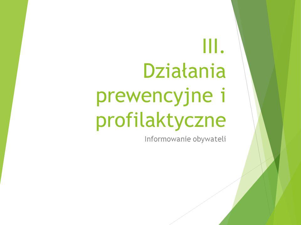 III. Działania prewencyjne i profilaktyczne