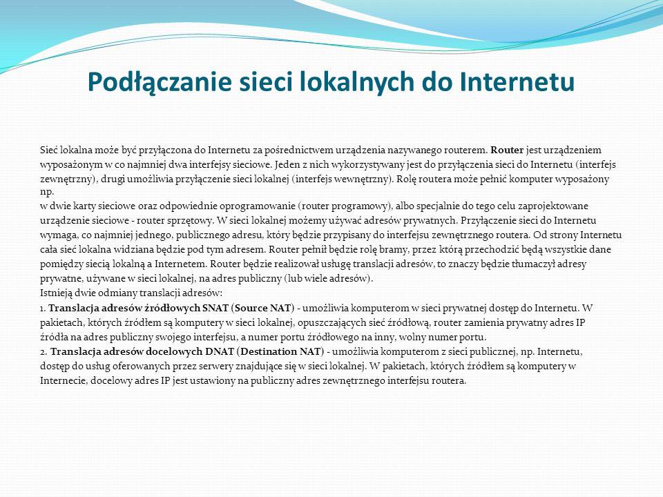 Podłączanie sieci lokalnych do Internetu