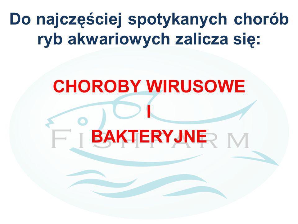Do najczęściej spotykanych chorób ryb akwariowych zalicza się: