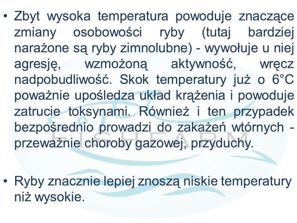 Zbyt wysoka temperatura powoduje znaczące zmiany osobowości ryby (tutaj bardziej narażone są ryby zimnolubne) - wywołuje u niej agresję, wzmożoną aktywność, wręcz nadpobudliwość. Skok temperatury już o 6°C poważnie upośledza układ krążenia i powoduje zatrucie toksynami. Również i ten przypadek bezpośrednio prowadzi do zakażeń wtórnych - przeważnie choroby gazowej, przyduchy.