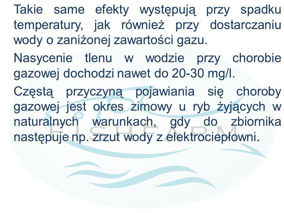 Takie same efekty występują przy spadku temperatury, jak również przy dostarczaniu wody o zaniżonej zawartości gazu.
