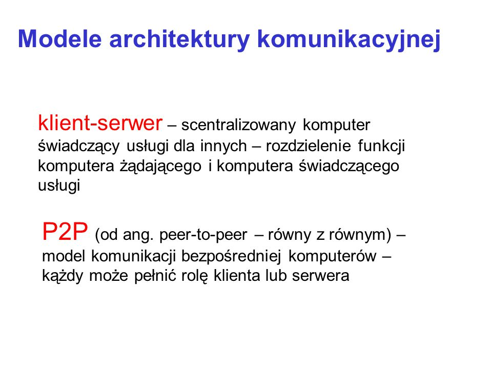 Modele architektury komunikacyjnej