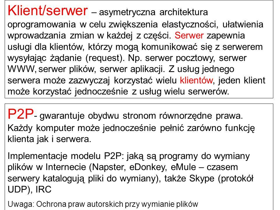 Klient/serwer – asymetryczna architektura oprogramowania w celu zwiększenia elastyczności, ułatwienia wprowadzania zmian w każdej z części. Serwer zapewnia usługi dla klientów, którzy mogą komunikować się z serwerem wysyłając żądanie (request). Np. serwer pocztowy, serwer WWW, serwer plików, serwer aplikacji. Z usług jednego serwera może zazwyczaj korzystać wielu klientów, jeden klient może korzystać jednocześnie z usług wielu serwerów.