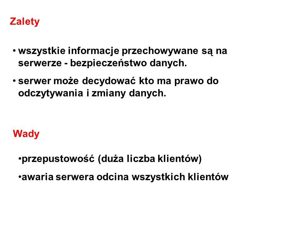 Zalety wszystkie informacje przechowywane są na serwerze - bezpieczeństwo danych.