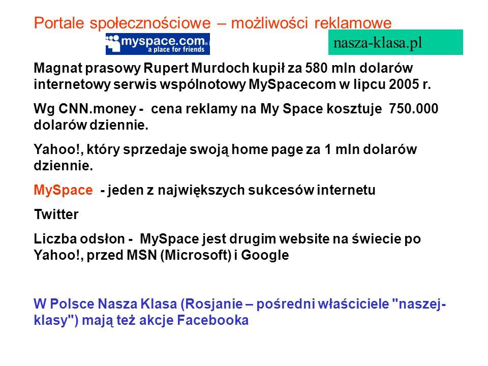 Portale społecznościowe – możliwości reklamowe nasza-klasa.pl