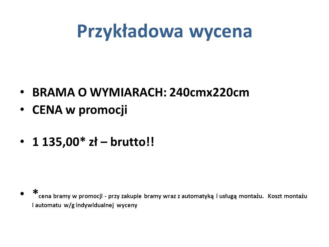 Przykładowa wycena BRAMA O WYMIARACH: 240cmx220cm CENA w promocji
