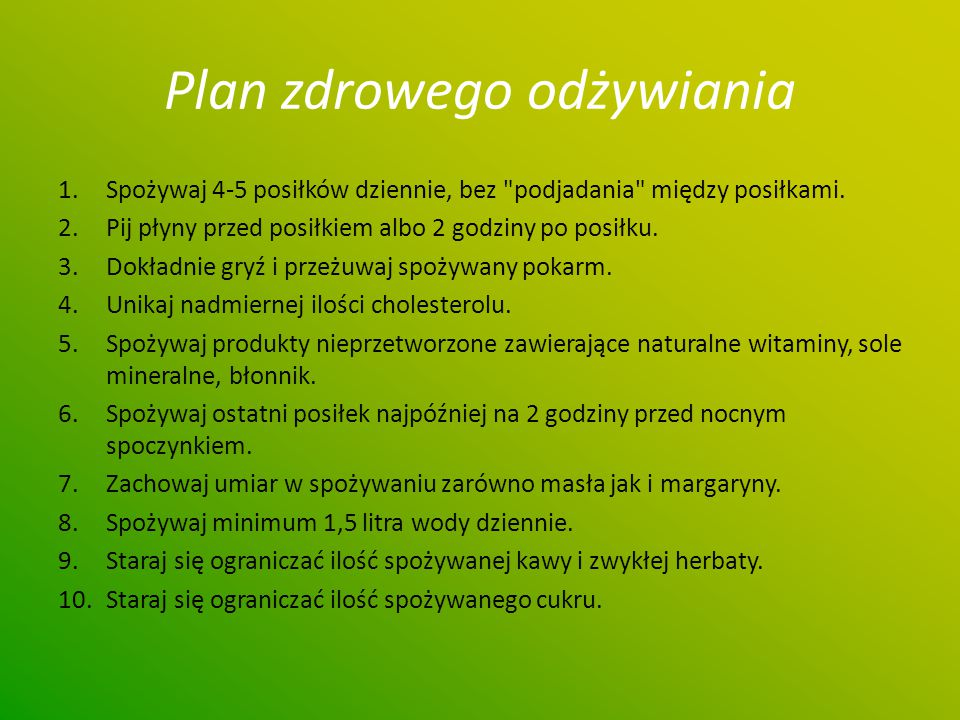 Plan zdrowego odżywiania
