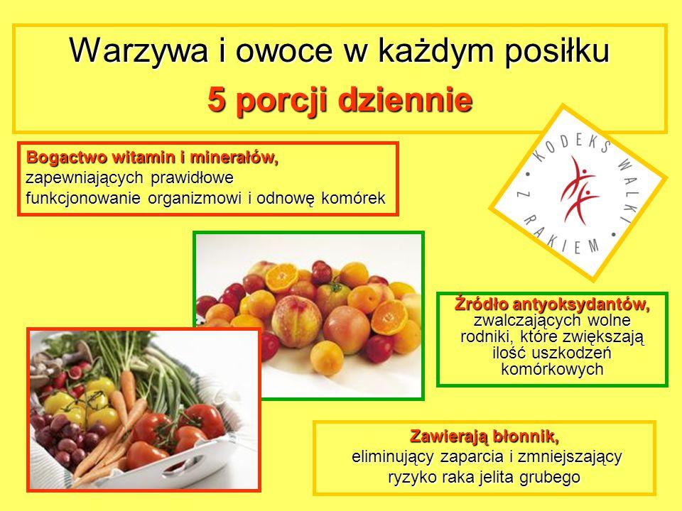 Warzywa i owoce w każdym posiłku 5 porcji dziennie