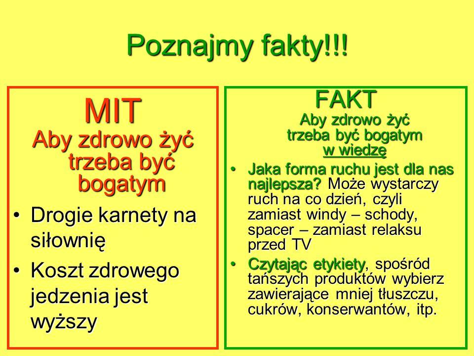 MIT Poznajmy fakty!!! FAKT Aby zdrowo żyć trzeba być bogatym w wiedzę