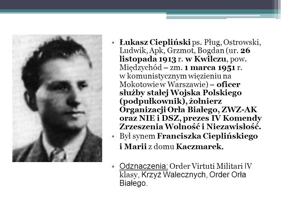 Łukasz Ciepliński ps. Pług, Ostrowski, Ludwik, Apk, Grzmot, Bogdan (ur