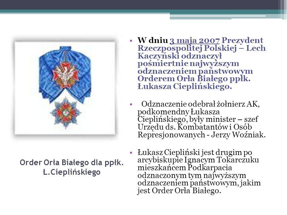 Order Orła Białego dla ppłk. Ł.Cieplińskiego