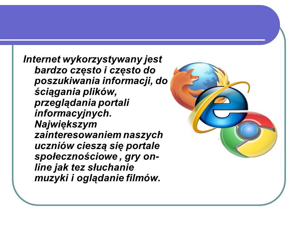 Internet wykorzystywany jest bardzo często i często do poszukiwania informacji, do ściągania plików, przeglądania portali informacyjnych.