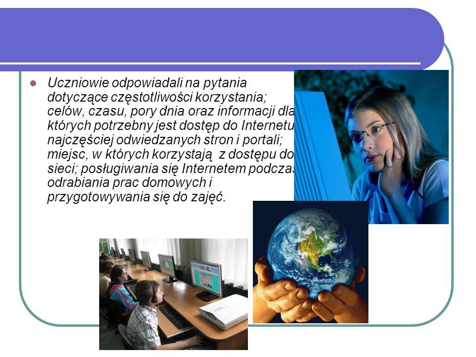 Uczniowie odpowiadali na pytania dotyczące częstotliwości korzystania; celów, czasu, pory dnia oraz informacji dla których potrzebny jest dostęp do Internetu; najczęściej odwiedzanych stron i portali; miejsc, w których korzystają z dostępu do sieci; posługiwania się Internetem podczas odrabiania prac domowych i przygotowywania się do zajęć.