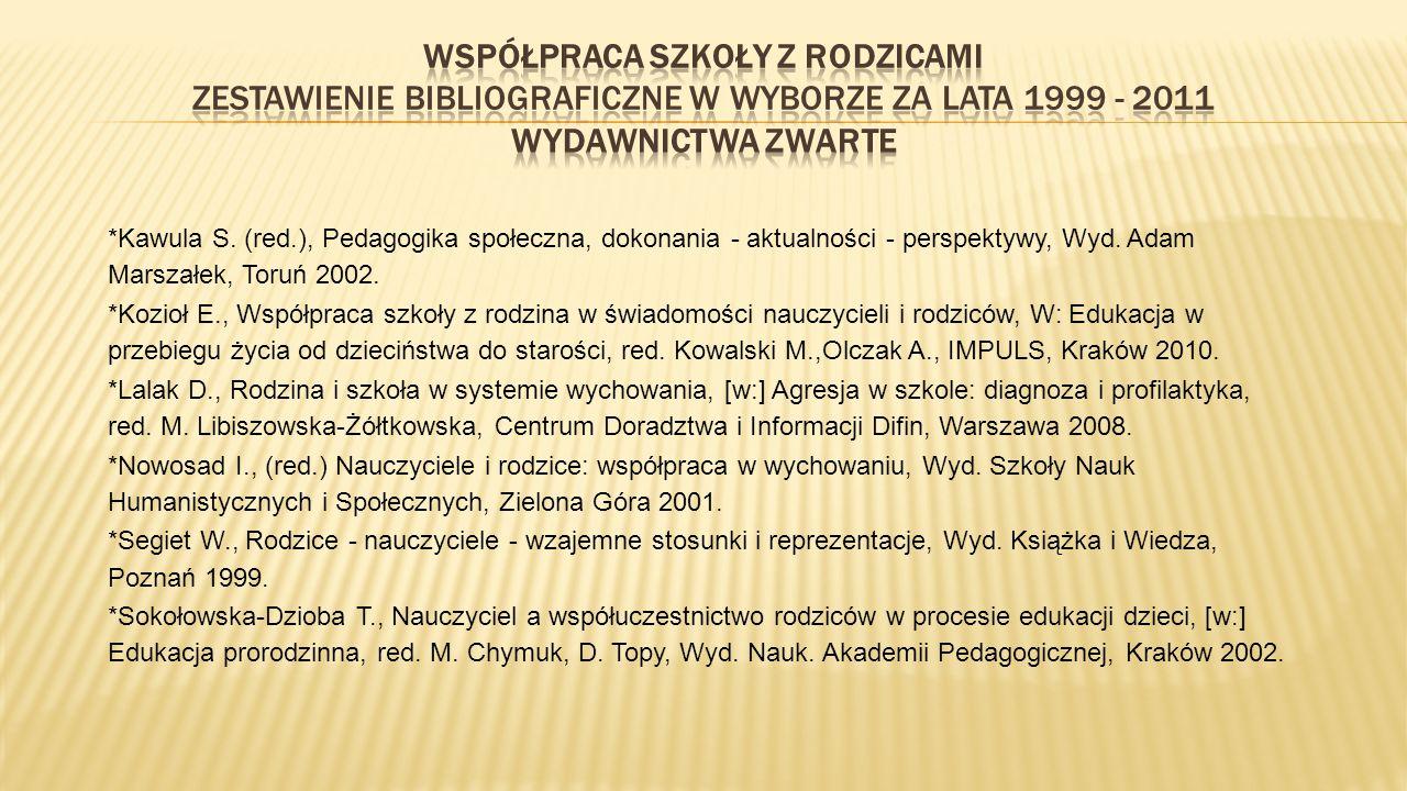 WSPÓŁPRACA SZKOŁY Z RODZICAMI Zestawienie bibliograficzne w wyborze za lata 1999 - 2011 WYDAWNICTWA ZWARTE