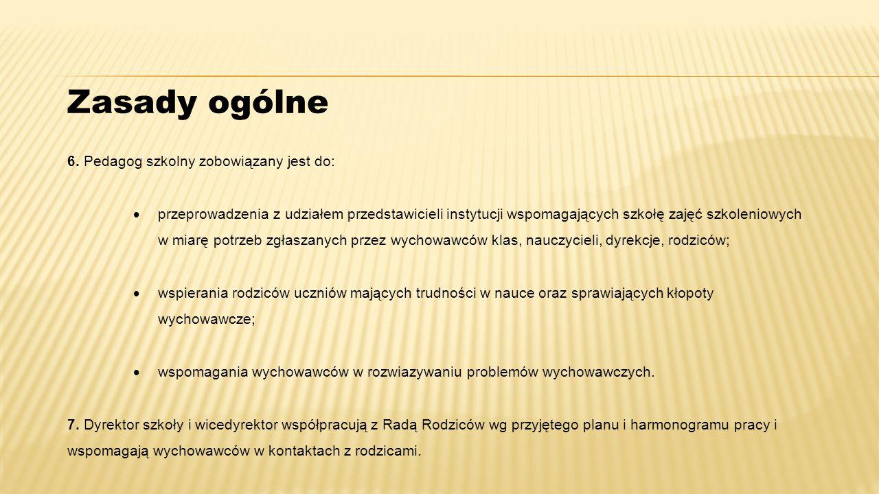Zasady ogólne 6. Pedagog szkolny zobowiązany jest do: