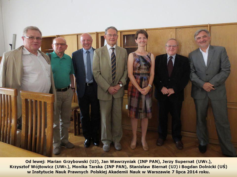 Od lewej: Marian Grzybowski (UJ), Jan Wawrzyniak (INP PAN), Jerzy Supernat (UWr.),