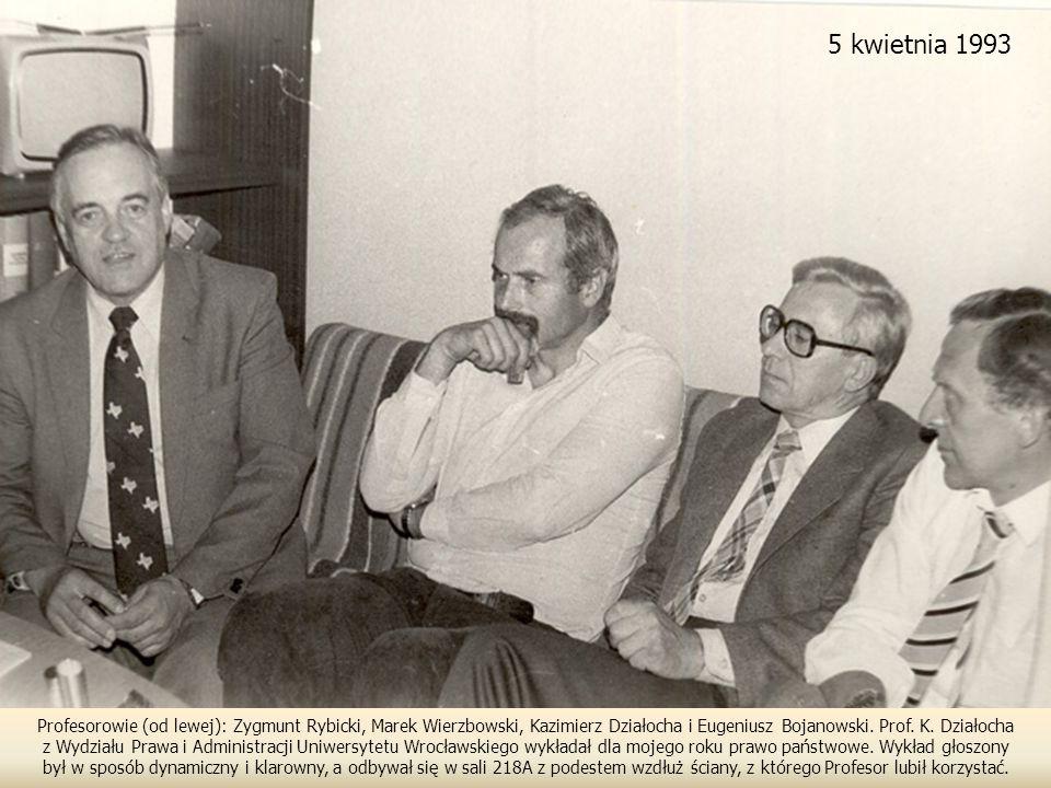 5 kwietnia 1993 Profesorowie (od lewej): Zygmunt Rybicki, Marek Wierzbowski, Kazimierz Działocha i Eugeniusz Bojanowski. Prof. K. Działocha.