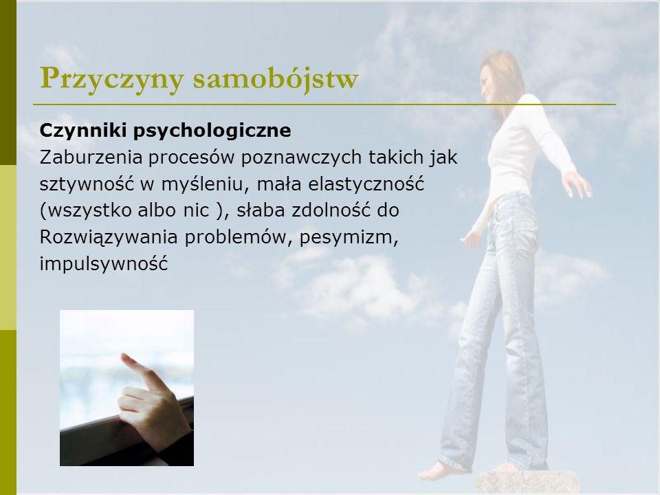 Przyczyny samobójstw Czynniki psychologiczne