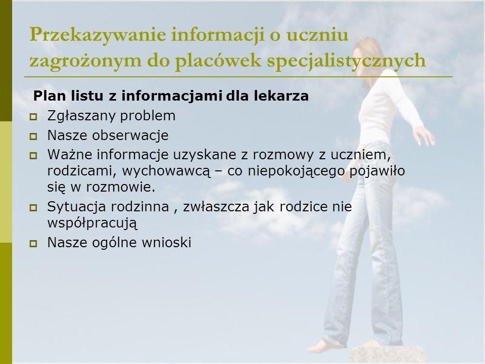 Przekazywanie informacji o uczniu zagrożonym do placówek specjalistycznych