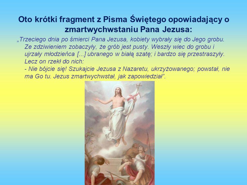 Oto krótki fragment z Pisma Świętego opowiadający o zmartwychwstaniu Pana Jezusa: