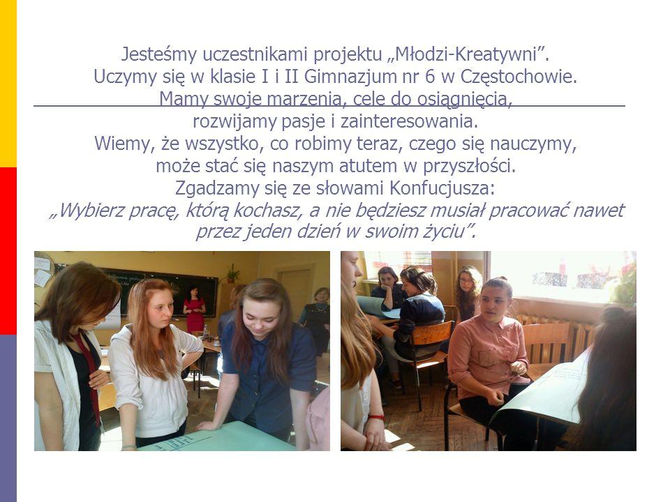 """Jesteśmy uczestnikami projektu """"Młodzi-Kreatywni"""