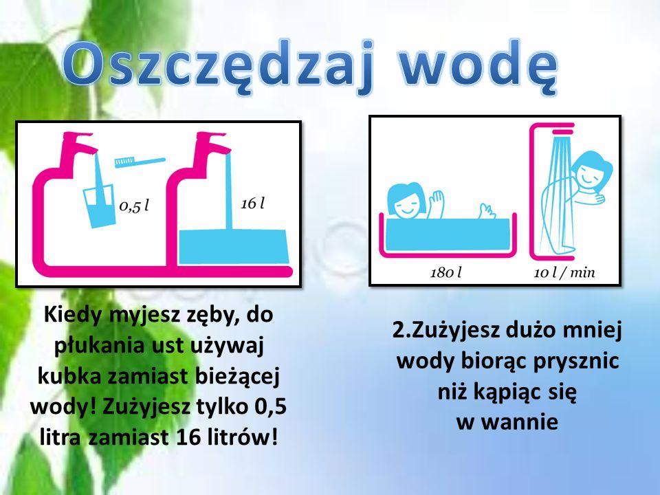 2.Zużyjesz dużo mniej wody biorąc prysznic niż kąpiąc się w wannie