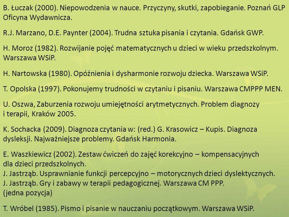 B. Łuczak (2000). Niepowodzenia w nauce