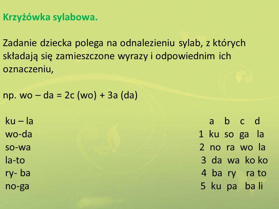 Krzyżówka sylabowa. Zadanie dziecka polega na odnalezieniu sylab, z których składają się zamieszczone wyrazy i odpowiednim ich oznaczeniu,