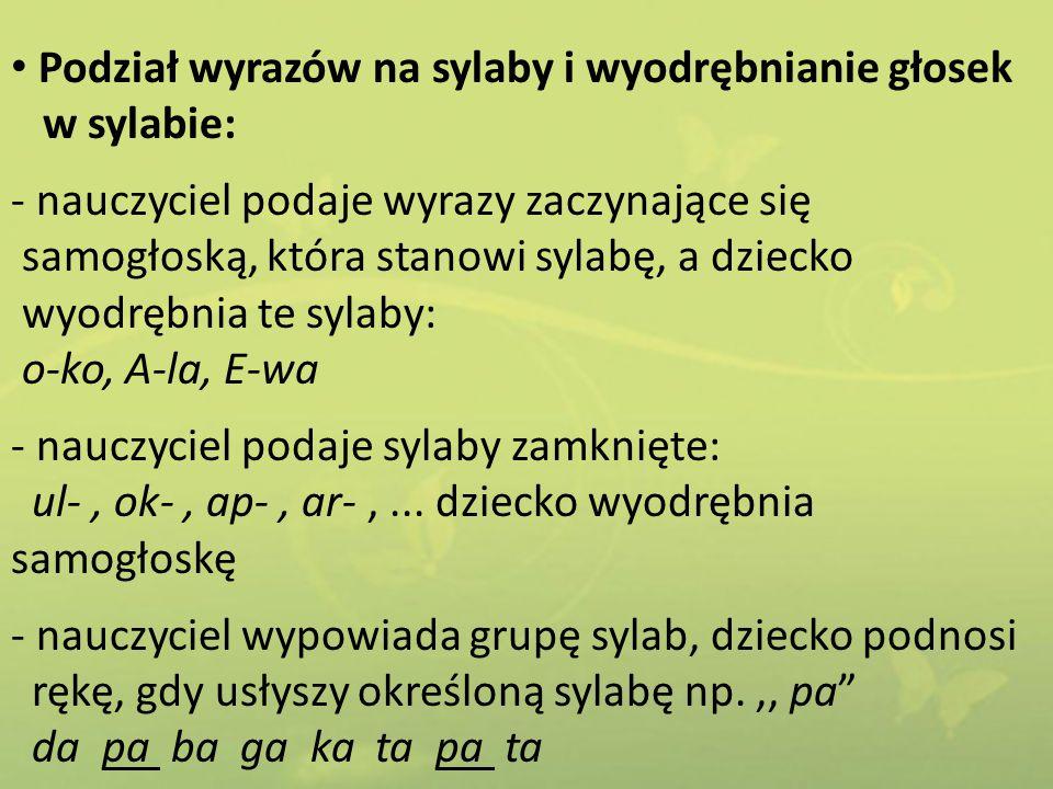 Podział wyrazów na sylaby i wyodrębnianie głosek
