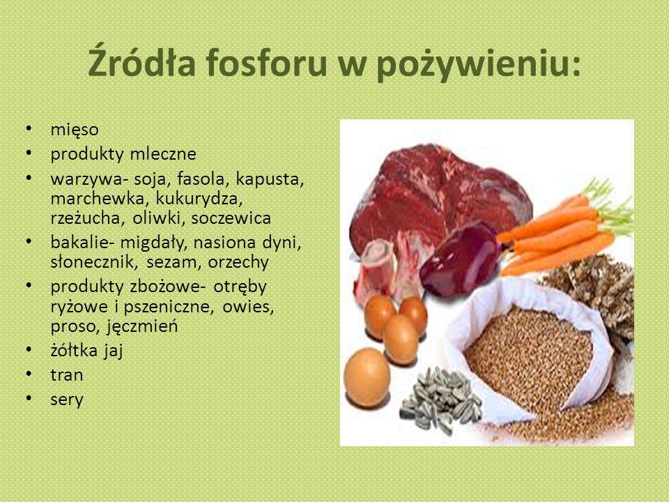 Źródła fosforu w pożywieniu: