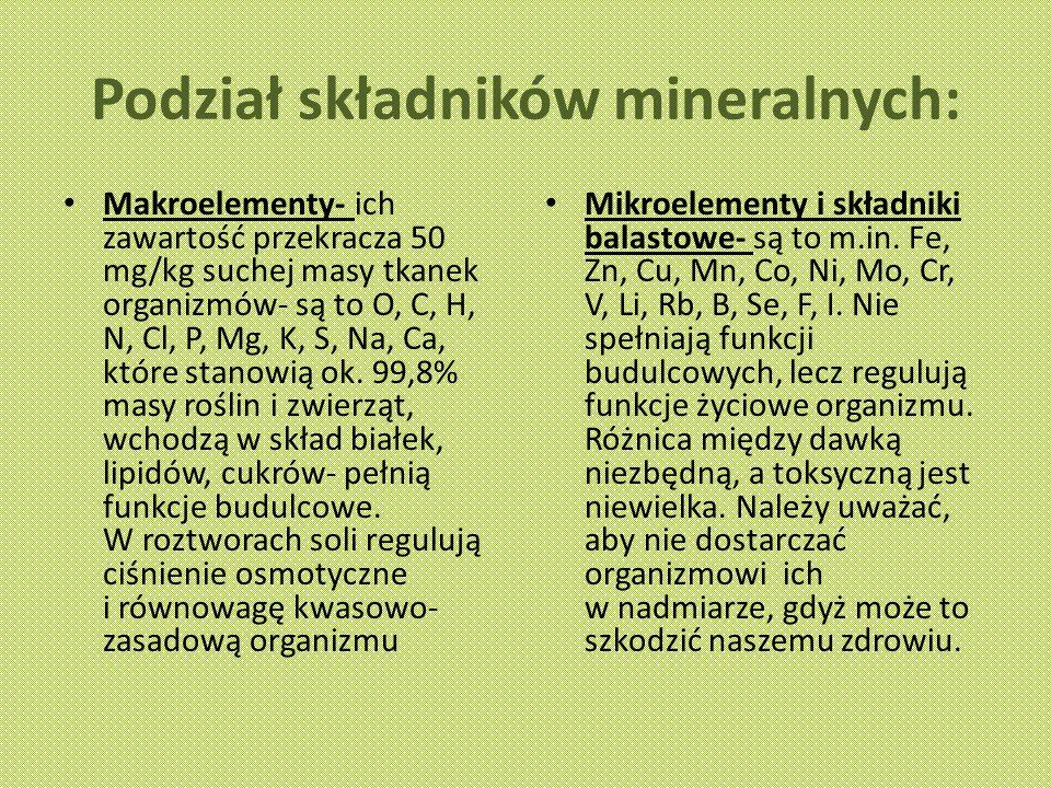 Podział składników mineralnych: