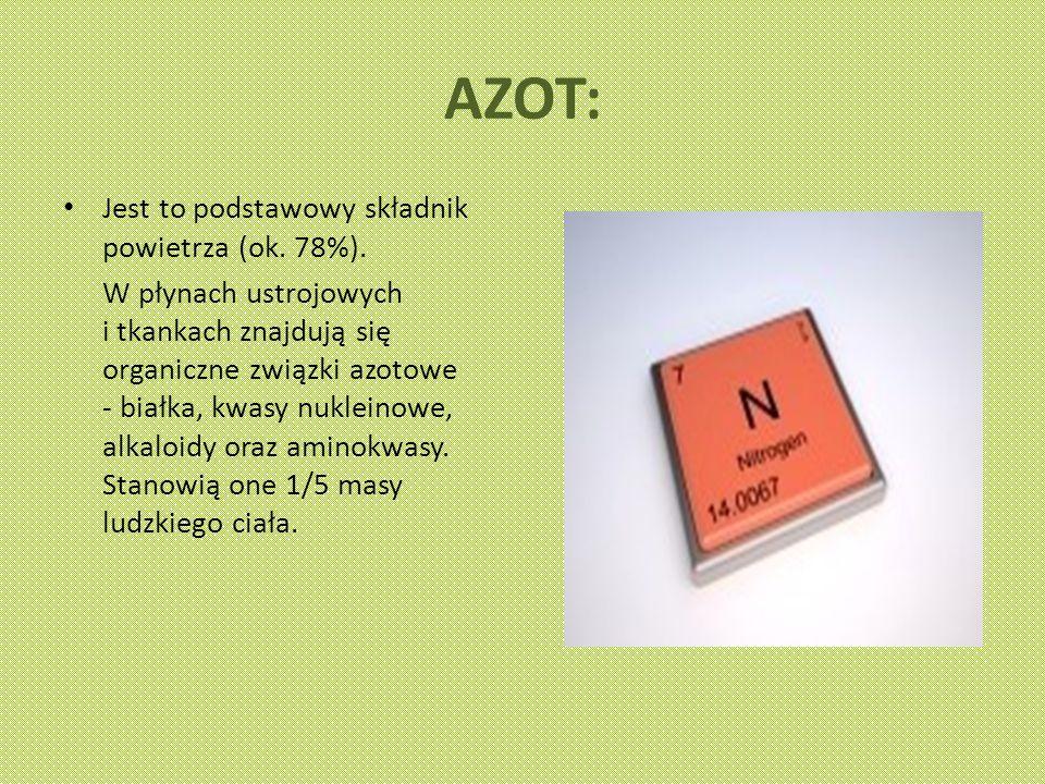 AZOT: Jest to podstawowy składnik powietrza (ok. 78%).