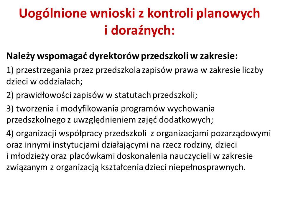 Uogólnione wnioski z kontroli planowych i doraźnych: