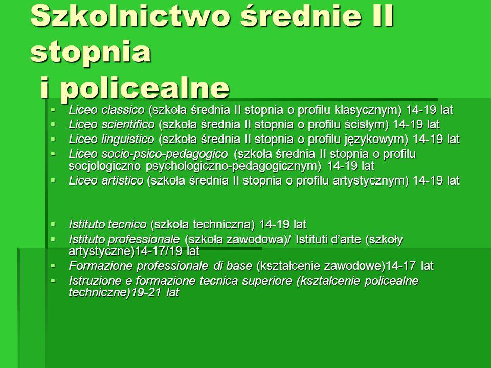Szkolnictwo średnie II stopnia i policealne