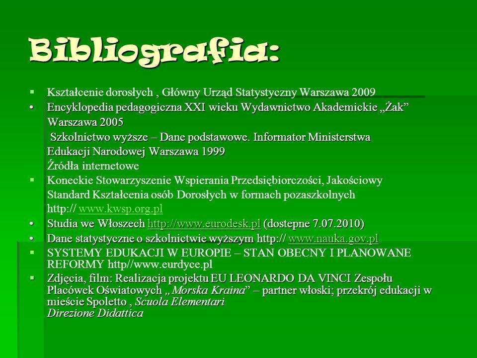 """Bibliografia: Kształcenie dorosłych , Główny Urząd Statystyczny Warszawa 2009. Encyklopedia pedagogiczna XXI wieku Wydawnictwo Akademickie """"Żak"""