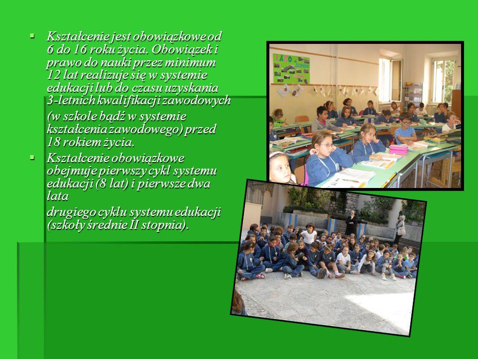 Kształcenie jest obowiązkowe od 6 do 16 roku życia