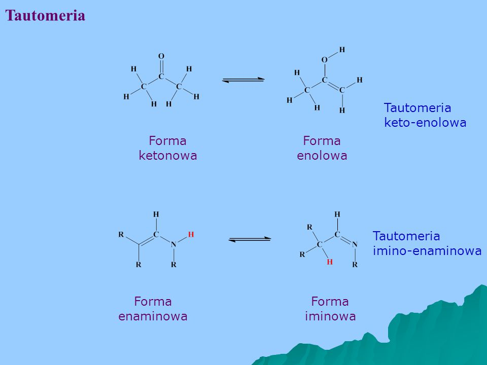 Tautomeria Tautomeria keto-enolowa Forma ketonowa Forma enolowa