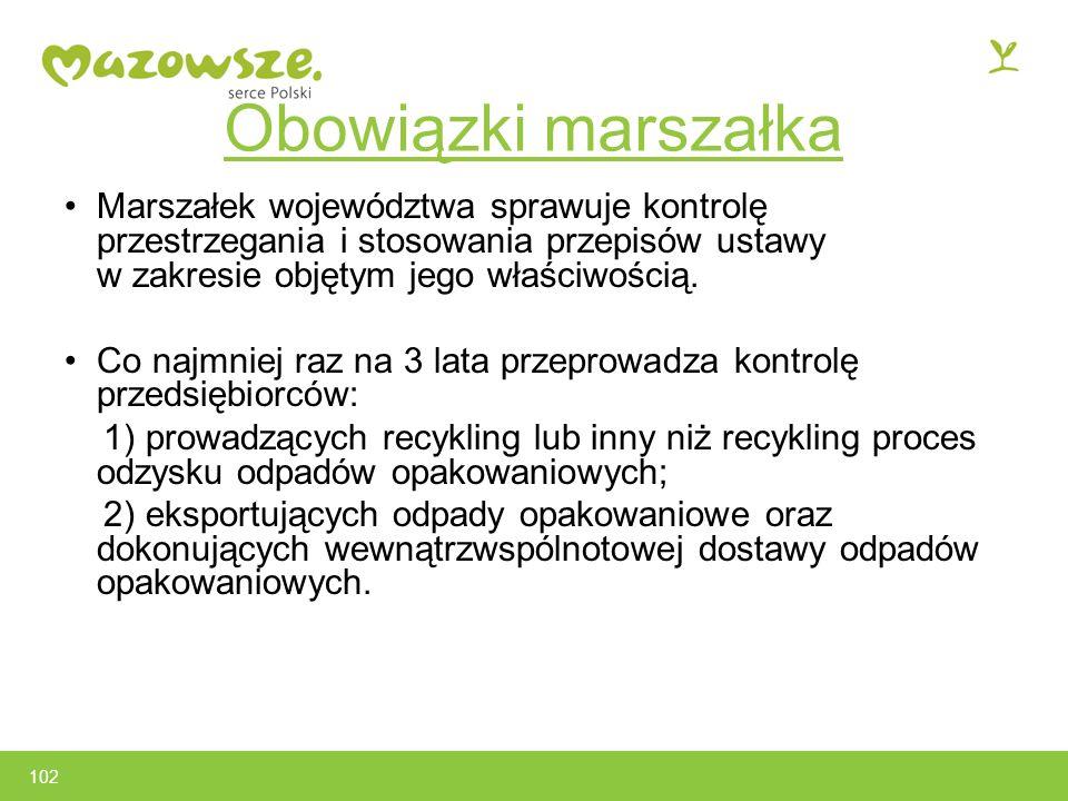 Obowiązki marszałka Marszałek województwa sprawuje kontrolę przestrzegania i stosowania przepisów ustawy w zakresie objętym jego właściwością.