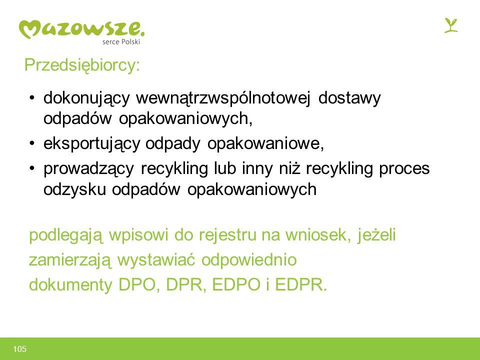 dokonujący wewnątrzwspólnotowej dostawy odpadów opakowaniowych,