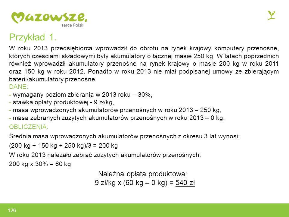 Należna opłata produktowa: 9 zł/kg x (60 kg – 0 kg) = 540 zł
