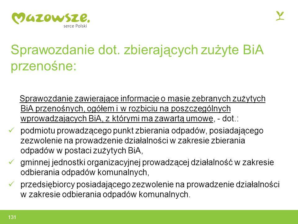 Sprawozdanie dot. zbierających zużyte BiA przenośne: