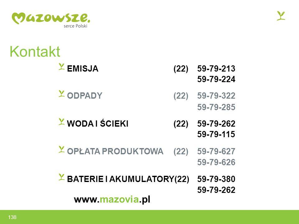Kontakt www.mazovia.pl EMISJA (22) 59-79-213 59-79-224