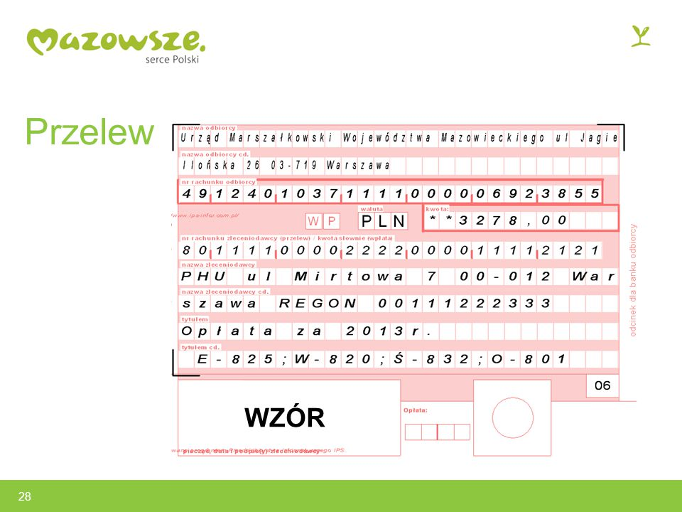 Przelew WZÓR 28