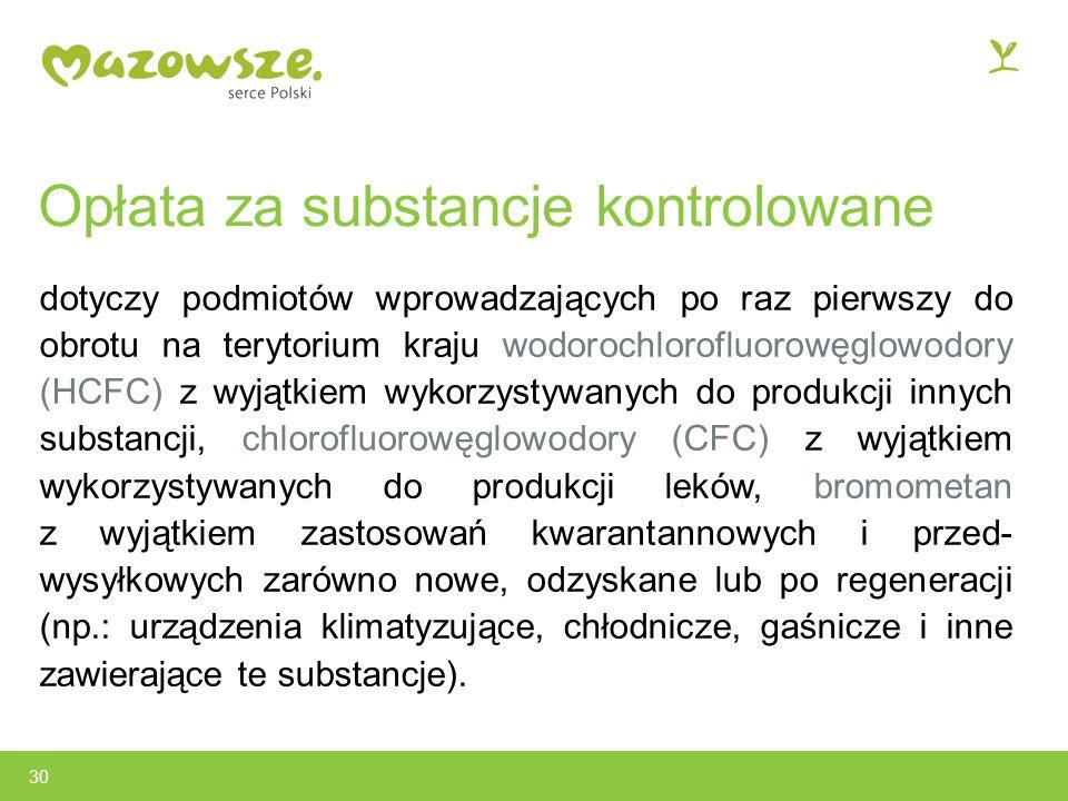 Opłata za substancje kontrolowane