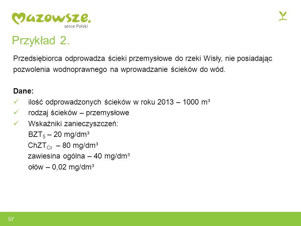 Przykład 2. Przedsiębiorca odprowadza ścieki przemysłowe do rzeki Wisły, nie posiadając. pozwolenia wodnoprawnego na wprowadzanie ścieków do wód.